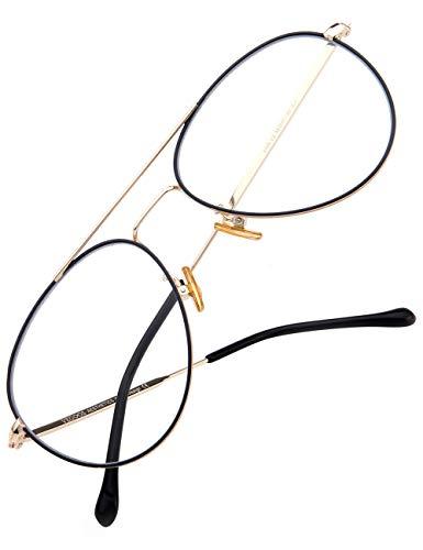 (VEGOOS Blue Light Blocking Computer Glasses Anti Eyestrain Headaches UV Aviator Style Non Prescription Clear Lens Eyeglasses (Gold)