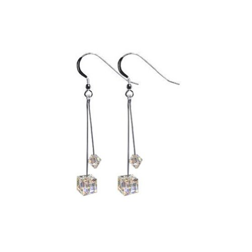 Gem Avenue 925 Sterling Silver Diagonal Cube Shape Swarovski Elements Clear Crystal Handmade Drop Earrings for Women ()