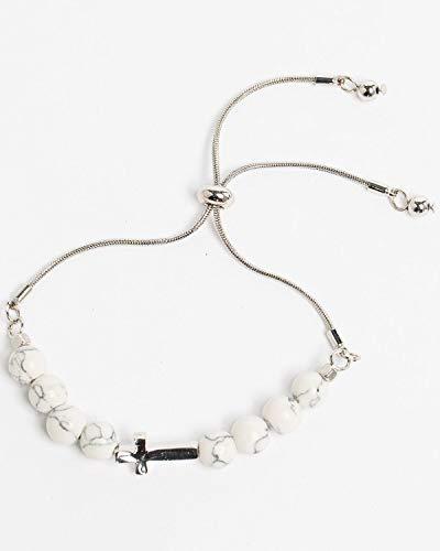 Shyanne Women's Bella White Turquoise Beaded Cross Slider Bracelet Turquoise One Size