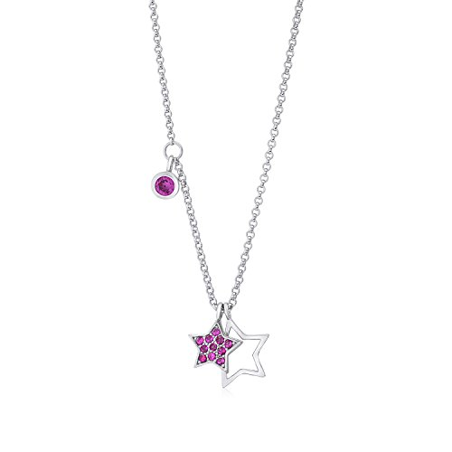 UNICORNJ Sterling Silver 925 Double Star Charm Necklace Pendant with Dangle Accent CZ Dark Pink on Rolo Chain 16