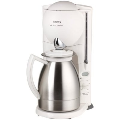 Krups F-229 Aroma Control 10-cup Coffeemaker with Thermal Carafe, White and Stainless Steel