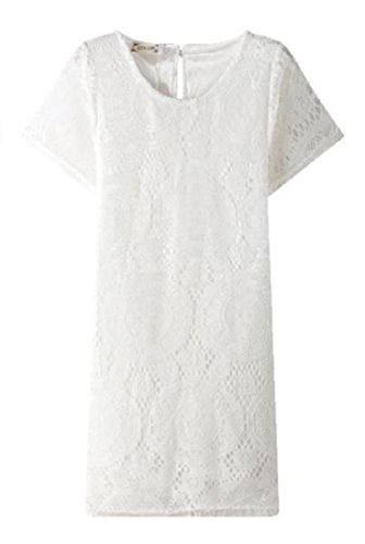 Sexy Sleeve White Out Short Dress Casual Hollow Coolred Women Mini Lace EvnqSUY