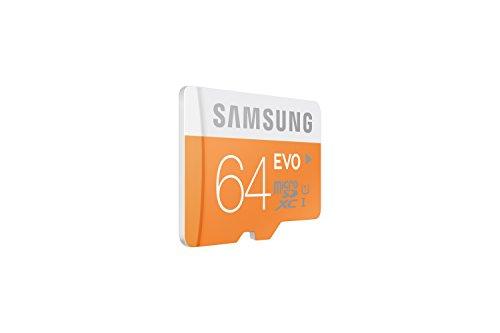 Samsung memory 64gb evo microsdxc uhs-i grade 1 class 10 memory card without adapter 2 samsung 64gb, microsdxc evo, 64 go, micro secure digital extended capacity (microsdxc), 48 mo/s, orange, blanc, water resistant, -25 - 85 c