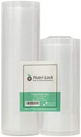 Nutri-Lock Vacuum Sealer Bags. 2 Rolls 11×50 and 8×50. Commercial Grade Bag Rolls. Works with FoodSaver. Perfect for Sous Vide