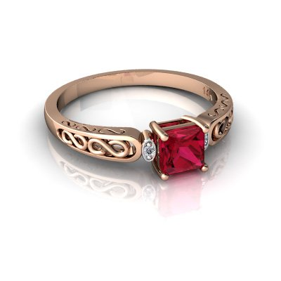 14kt Gold Lab Ruby and Diamond 4mm Square filligree Scroll Ring