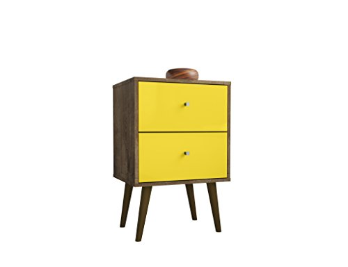 2 Drawer Contemporary End Table - Manhattan Comfort 204AMC94 Liberty Modern 2 Drawer Bedroom Nightstand/End Table, Brown/Yellow