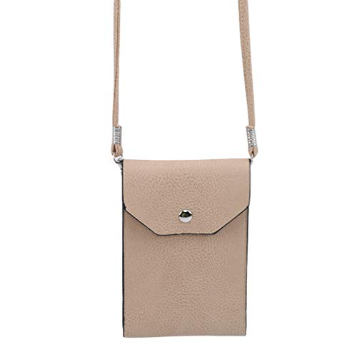 (Yunzee Shoulder Mobile Phone Bag Soft Faux Leather Cellphone Pouch Crossbody Mini Cell Phone Purse Travel Passport Bag,Khaki)