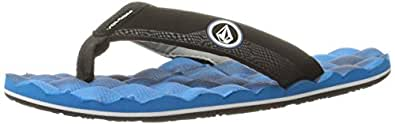 Volcom Boys' Recliner Big Youth FLIP Flop Sandal, Marina Blue, 1 M US Kid