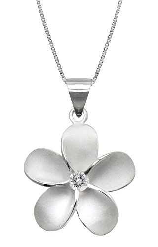 Sterling Silver Plumeria Necklace Pendant