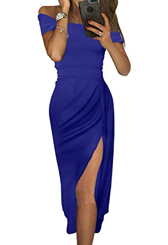 Douremifa Sexy Slit Dresses for Women Formal Evening Cocktail Party Prom Gowns Off The Shoulder Ruched Midi Dress Blue XL