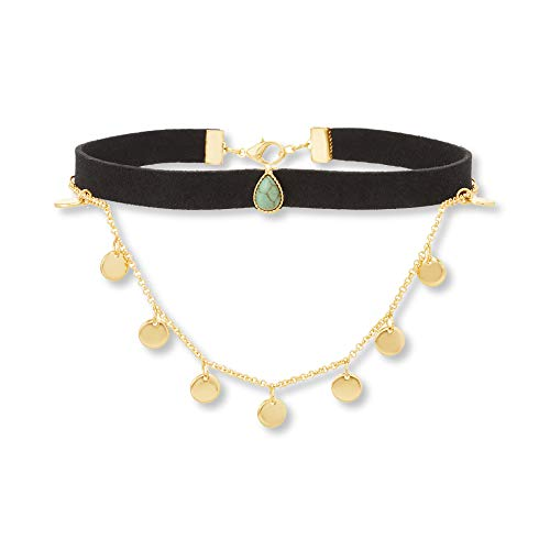 Steve Madden Disc Charm Chain Suede Choker Necklace - Michele Green Necklace