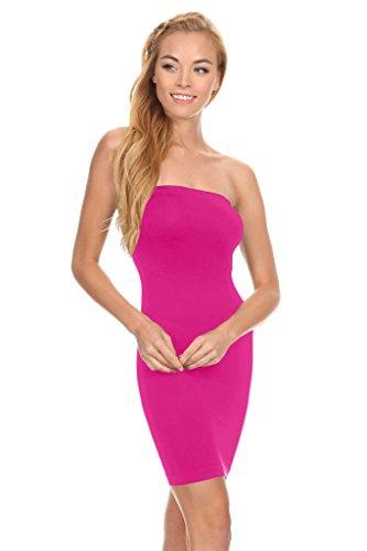 Womens One Size Seamless Slip Dress Short Bandeau Dress Bodycon Tube Dress