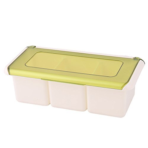 Amazon.com | DealMux Plastic Kitchen 3 compartimentos Condimento Sal Pimenta Organizador Container Caixa Verde: Condiment Pots