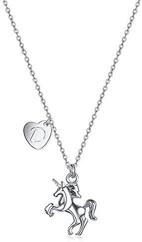 Baby Unicorn pendant for little girls magnifier top silver chain silver pendant blank 1 in diameter