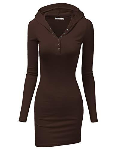 Doublju Womens Long Sleeve Henley Neck Basic Hoodie Dress Brown Large