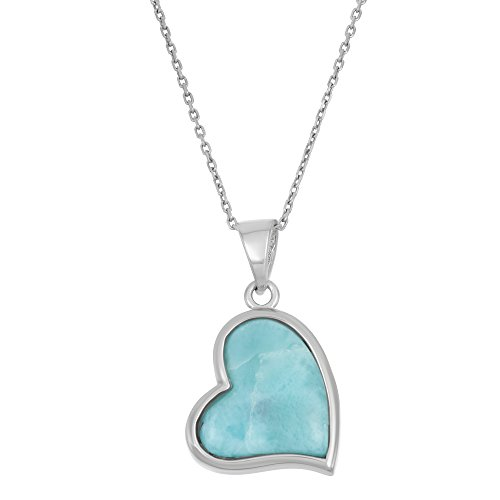 - Beaux Bijoux Sterling Silver Natural Larimar Heart Pendant with 18