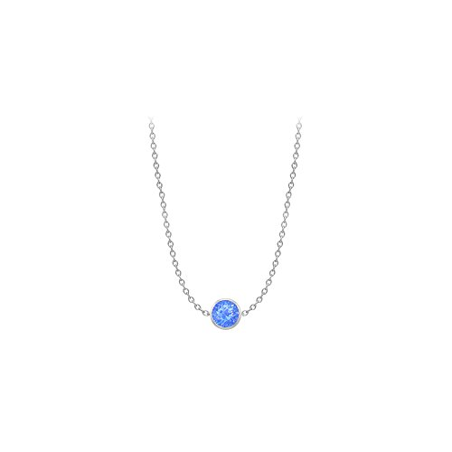 Blue Created Sapphire Necklace on 14K White Gold Bezel Set 1.00 ct.tw ()