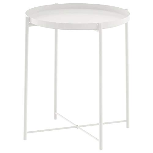 IRISHOME Tray Metal End Table, Sofa Table Small Round Side Tables, Anti-Rust and Waterproof Outdoor & Indoor Snack Table, Accent Coffee Table, 20.3