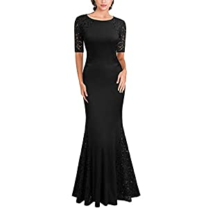 FORTRIC Women Short Sleeves Lace Side Wedding Party Bridesmaid Long Maxi Dress