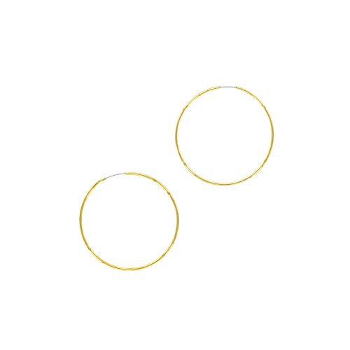 And Lovely 18K Gold or Rhodium Plated Thin Endless Hoop Earrings - Lightweight Wire Hoops (Gold, 40)