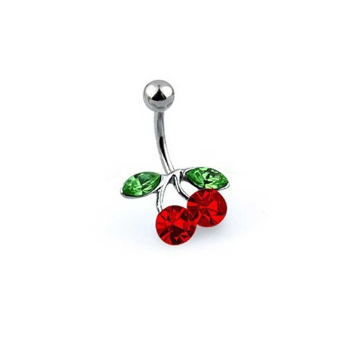 Cherry Ring Navel - Red Crystal Double Cherry Branch Bar Navel Belly Ring for Women 316L Stainless Steel 14 Gauge