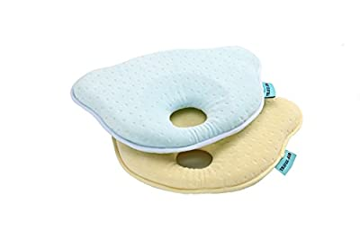 Travel Aid 2 Pack Head Shaping Soft Memory Foam Baby Pillow For Newborn Infant Comfort Sleeping & To Prevent Flat Head