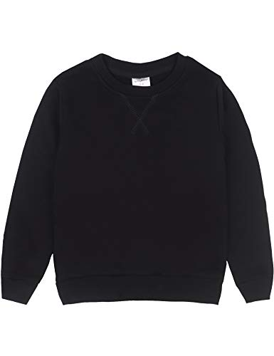 Spring&Gege Youth Basic Sport Crewneck Pullover Sweatshirts for Boys and Girls Size 7-8 Years Black