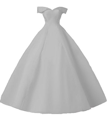Ld Hors Épaule En Satin Une Ligne Femmes Longue Robes De Soirée De Bal Robe De Mariée Bal Officiel D'argent