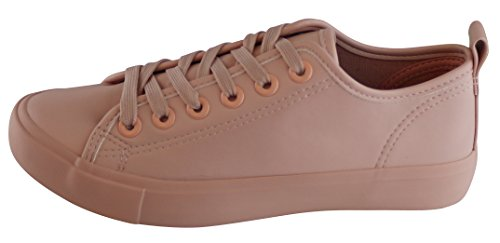 Cambridge Select Mujeres Low Top Closed Round Toe Zapatillas Clásicas Con Cordones Zapatillas De Deporte De Moda Blush Pu