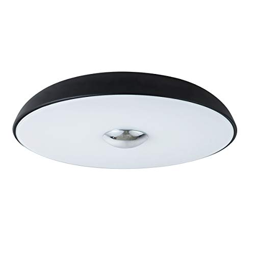 Lanros UFO Simple Modern Ceiling Light Flush Mount, Inverted Bowl Strike LED Ceiling Light Fixture with 16W 3000K Warm White Apply to Bedroom, Dining Room, Living Room, Black & ()
