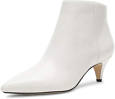 c3f2b668014 XYD Women Chic Low Kitten Heels Ankle Boots Pointed Cap Toe Side Zip ...