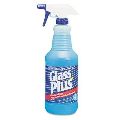 Glass Plus Products - Glass Plus - Glass Cleaner, 32 oz Trigger Spray Bottle, 12/Carton - Sold As 1 Carton - Non-ammoniated formula cleans windows, mirrors, appliances, countertops, painted walls, chrome, stainless steel, porcelain, ceramic tile and more  by Glass Plus