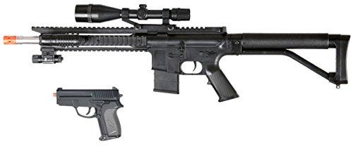 Gun Sniper Set - 300FPS P1137 Scout Sniper Airsoft Rifle Gun - FULL TACTICAL SETUP w/ SIDEARM -