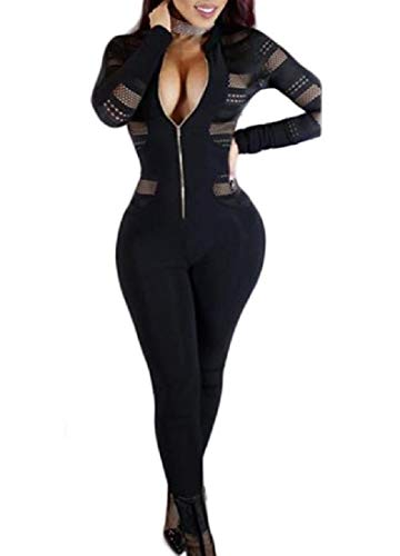 Beeatree 女性のシースルーセクシーな柔軟フィットロンパースジッパージャンプスーツパンツ