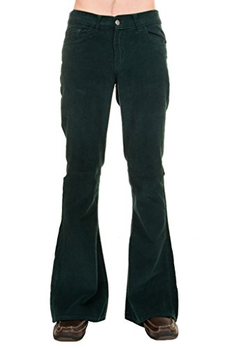 (Run & Fly Men's 70's Retro Vintage Bellbottom Teal Green Corduroy Super Flares)