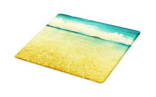 Ambesonne Beach Cutting Board, View of the Sea in Grunge and Retro Style Horizon Cloudy Sky Summer, Decorative Tempered Glass Cutting and Serving Board, Large Size, Green Earth Yellow Turquoise