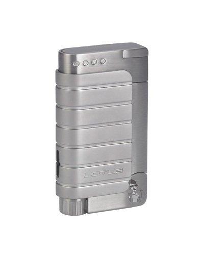 Lotus 36 Single Flame Torch Lighter + Punch Cutter Chrome Satin/Chrome Velour