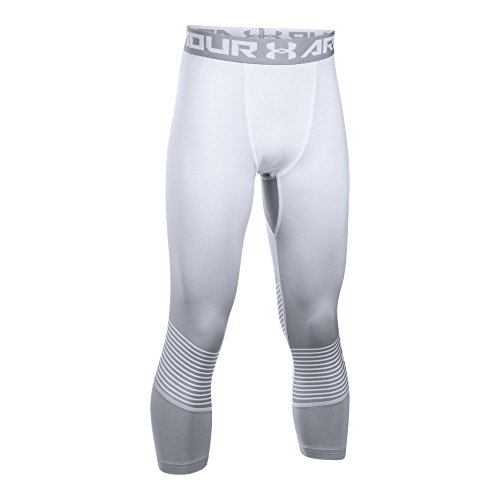 Under Armour Boys' HeatGear Armour Printed ¾ Leggings, White/Overcast Gray, Youth Small