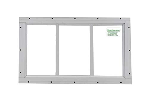 "Shed Transom Window 10"" X 18"" White Flush Mount"