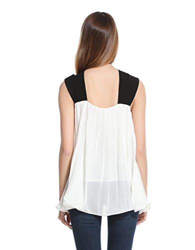 NiSeng Mujeres Verano Gasa Casual Color Sólido Suelto Irregular Del Dobladillo Escotado Por Detrás Sin Mangas Camisetas Top Blanco