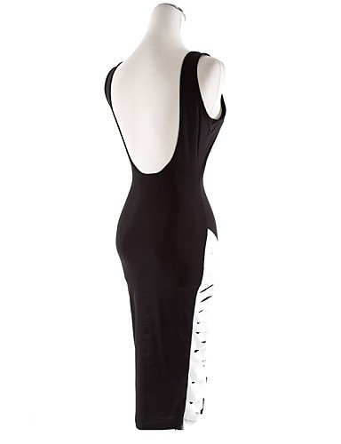 PU&PU Robe Aux femmes Gaine Street Chic,Couleur Pleine Col Arrondi Mi-long Coton , black-m , black-m