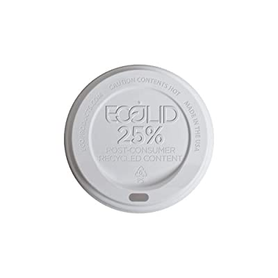 Eco-Products - EcoLid 25% Recycled Content White Hot Cup Lid - Fits 10-20oz Hot Cups - EP-HL16-WR (10 Packs of 100)