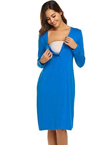 b1a85ef350d Ekouaer Soft Nursing Maternity Gowns