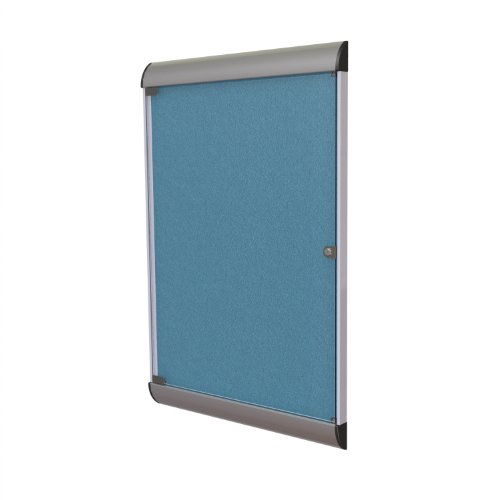 1 Door Bulletin Board (Ghent 42-1/8 x 27-3/4 Inches 1-Door Silhouette Enclosed Bulletin Board, Satin and Black Frame with Vinyl Fabric, Ocean , Made in the USA)