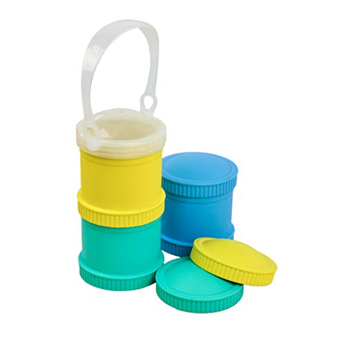 Re-Play Made in The USA 7 Piece Stackable Food and Snack Storage Containers for Babies, Toddlers and Kids of All Ages - Yellow, Aqua, Sky Blue (Surf)