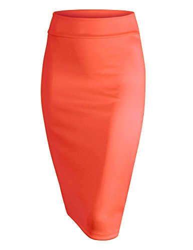 Made By Johnny WB700 Womens Scuba Midi Skirt M - Suit Skirt Coral