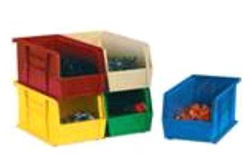 Aviditi BINP0965B Plastic Stack and Hang Bin Boxes, 9 1/4'' x 6'' x 5'', Blue (Pack of 12)