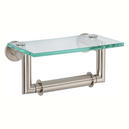 Brasstech Brass Toilet Paper Holder - Ginger 4627/SN Kubic Double Post Toilet Tissue Holder with Glass Shelf, Satin Nickel