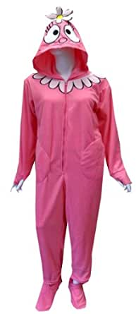 Yo Gabba Gabba Foofa Adult Footie Onesie Pajamas for women (2X)
