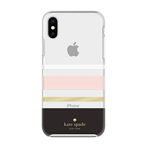 (Kate Spade New York Phone Case for Apple iPhone Xs Max Protective Phone Cases with Slim Design Drop Protection and Floral Print, Charlotte Stripe Black/Cream/Blush/Gold Foil)